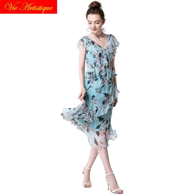 blue floral silk dress summer beach 2018 women maxi sexy casual office dresses plus large size long party fairy bohemian loose bohemian floral flounce long swing beach dress