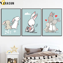 Cartoon Rabbit Family Love Reading Book Wall Art Canvas Painting Nordic Posters And Prints Wall Pictures Baby Girl Room Decor(China)