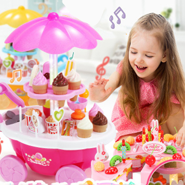 Pretend Play Mini Ice Cream Candy Cart Kitchen Toy Cake Cookie Tower