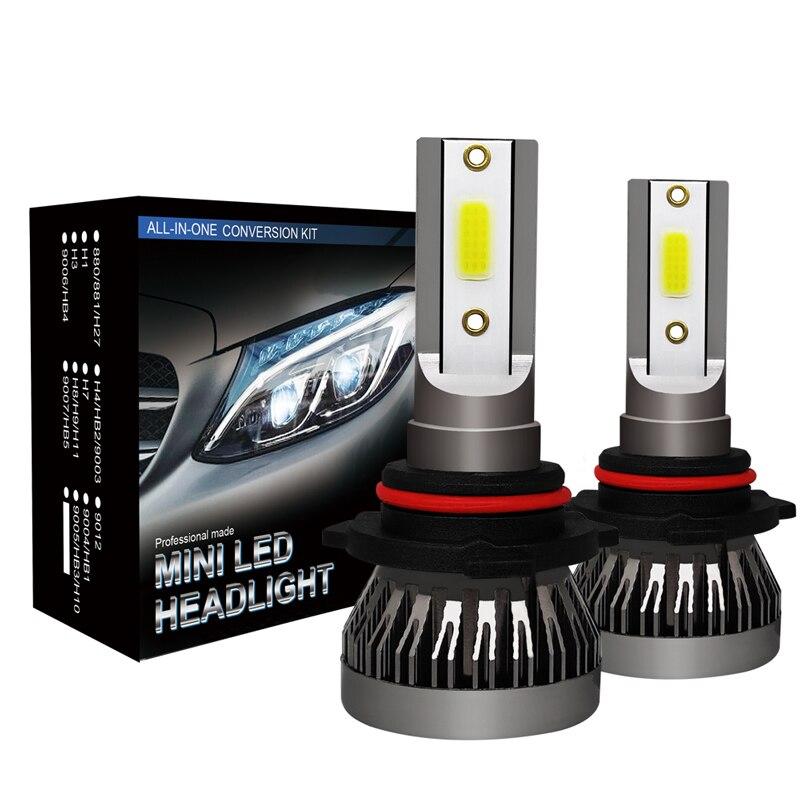2 pçs h4 h7 led farol do carro mini lâmpada h1 h11 faróis kit 9005 hb3 9006 hb4 9012 6000 k nevoeiro lâmpadas 12 v lâmpada led 36 w 8000lm