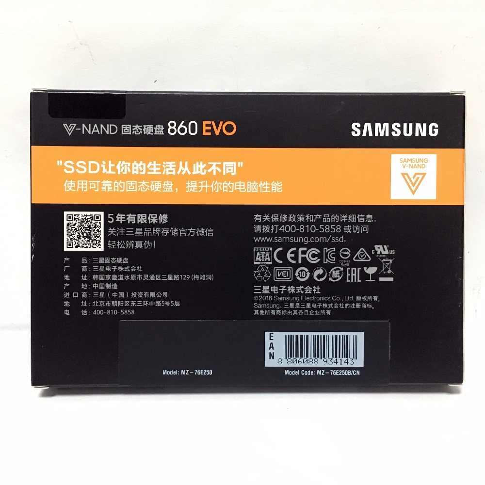 Samsung 860 EVO 860EVO 250GB 250G 2,5 SATA3 SSD PC Desktop Laptop Server 2,5 Interne Solid State Dribe SSD 500GB 1TB 250GB