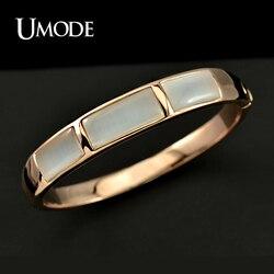 UMODE Rose Gold Color Imitation Opal Stone Cuff Bracelet JB0080