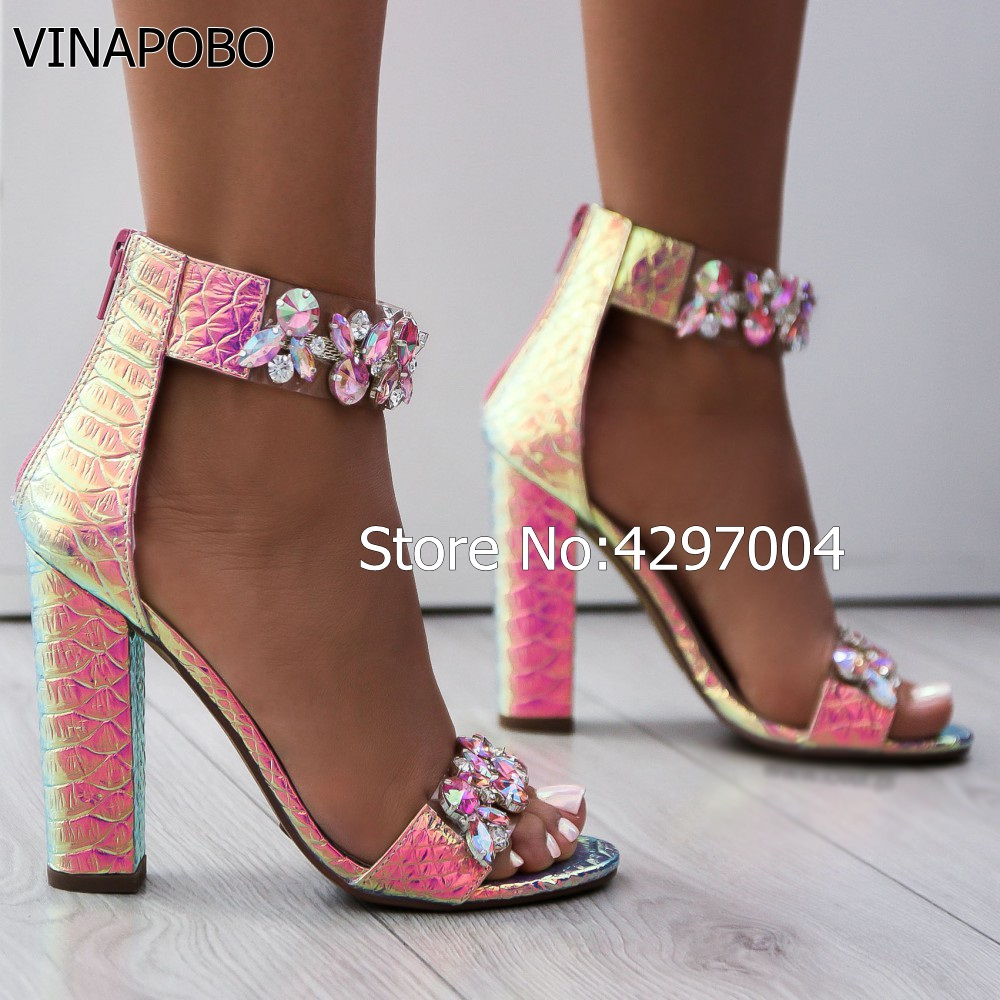 Woman shoes Block Heels Heel Sandals Rhinestone Sandals Luxury Crystal 2018  Chunky Thick Women VINAPOBO Sexy ... ffab23b78b08