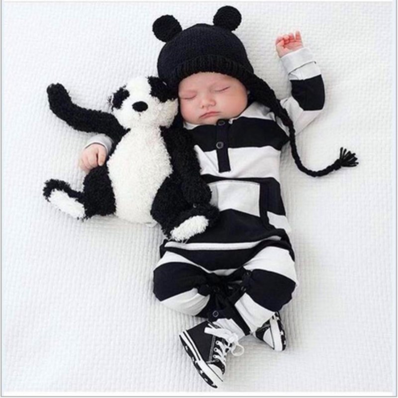 Baby Rompers Clothing White Black Striped Unisex Baby Costume Infant Long Sleeve Jumpsuits Newborn Baby Girls Clothes unisex baby boys girls clothes long sleeve polka dot print winter baby rompers newborn baby clothing jumpsuits rompers 0 24m