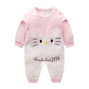 Image 2 - Mono de manga larga 100% algodón para Primavera, pijama de bebé, niño y niña, peleles de bebé, suave, 3 unidades/lote, 2019