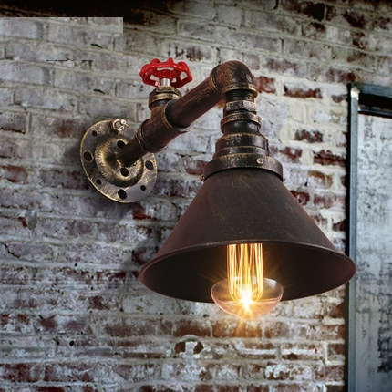 American Loft Style Water Pipe Lamp Industrial Edison Wall Sconce Antique Vintage Wall Light Fixtures For Home Lighting Lampara iwhd iron metal industrial wall light fixtures home lighting loft style edison vintage wall lamp sconce luminaire lampara pared