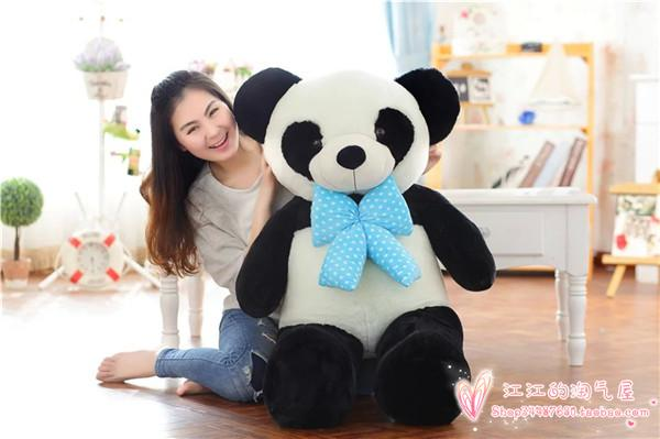 new arrival lovely bowtie panda plush toy largest 120cm panda hugging pillow toy Christmas gift h782 lovely giant panda about 70cm plush toy t shirt dress panda doll soft throw pillow christmas birthday gift x023