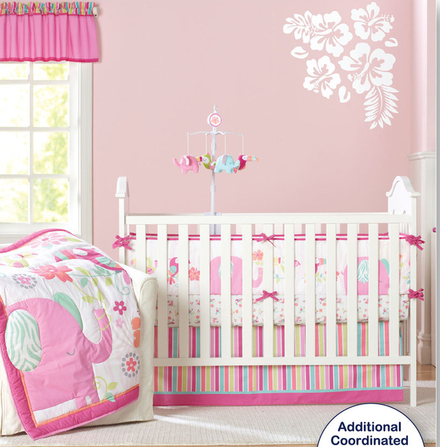 9 Pc Crib Infant Room Kids Baby Bedroom Set Nursery Bedding Pink Elephant Cot