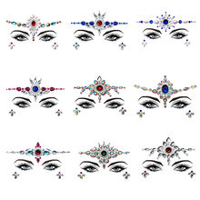 Summer Style Flash Eye Gemstone Temporary Tattoo Stickers Women Festival Decoration Rhinestone Handpicked Face Jewel Makeup Set(China)