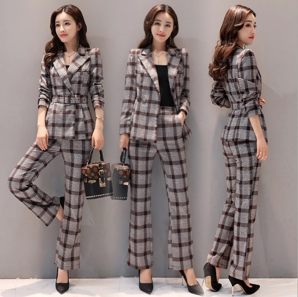 Blazer And Pants Women 2 Piece Pants Suits For Women Plaid