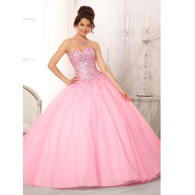 c001c6bf4 Vestidos de 15 Años Rosa Custom Made Vestido Azul Bola Vestidos Quinceanera  Beading Cristal vestido de