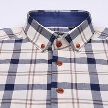 Men's Cotton Long Sleeve Contrast Plaid Dress Shirt