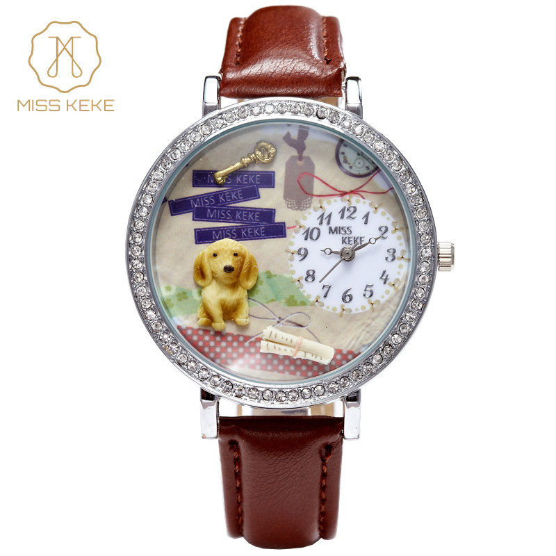 Relojes Mujer New Miss Keke Clay Cute 3d Mini World Dog Clock Women Rhinestone Watch Ladies Woman Montre Femme Wristwatches 621