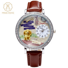 afa917126c0 Relojes Mujer Nova Miss Keke Argila Cão Bonito 3d Mini Mundial Relógio  Mulheres Rhinestone Assista Ladies
