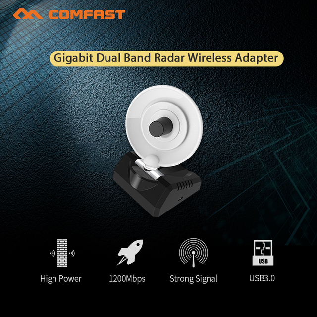 US $19 9 35% OFF|Comfast 1200M Gigabit High Power Dual Band 3 0 Radar  Wireless Adapter 5 8Ghz long range pc WiFi Receiver Adaptador WiFi  antenna-in