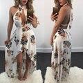 2017 Лето boho sexy цветочные dress женщины пляж dress холтер v шеи спинки асимметричный партия vestidos wrap tunique femme dress