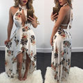 2017 del verano de boho floral sexy dress women beach dress halter v cuello sin respaldo vestidos de partido asimétrico wrap dress tunique femme