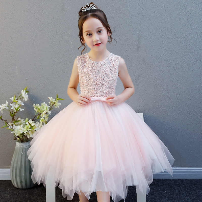 Elegant Children Girls Lace Princess Birthday Wedding Party Pink Dresses Kids Babies Clothing Costume Piano Host Tutu Mesh Dress autumn girls children s kids baby long sleeve lace mesh tutu patchwork basic dresses princess wedding party dress vestidos s5691