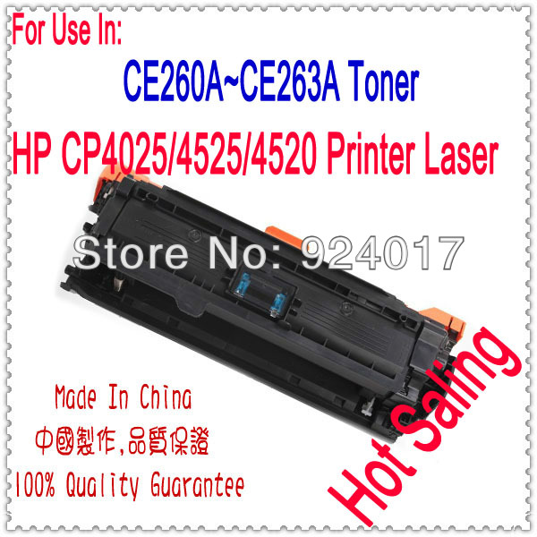 Toner Cartridge For HP Color Laserjet CP4025 CP4525 Printer Laser,For HP 647A CE260A CE261A CE262A CE263A Toner For HP Printer toner new printer cartridge for hp color 2840 toner low yield printer toner cartridge for hpcru free shipping