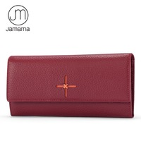 Jamarna Brand Genuine Leather Wallet Women Purse Long Clutch Luxury Female Purse Cellphone Bag Fashion Women