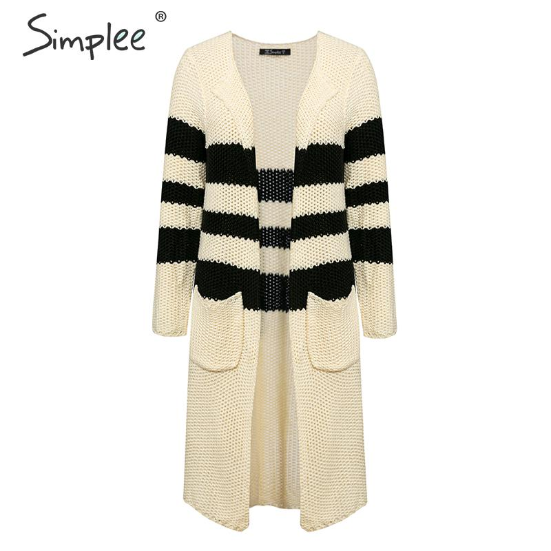 Simplee Vintage striped knitted cardigan women 2019 Autumn winter long sweater female Casual pockets loose lady beige cardigans