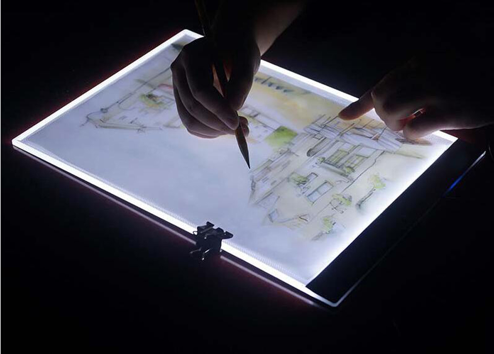 Touch dimming Ultrathin 4mm A4 LED Light Tablet Pad Apply to EU UK AU US USB