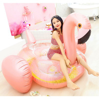 Rooxin Giant Flamingo Inflatable Swimming Pool Float Mattress Swimming Ring for Adult Swimming Circle Summer Party Pool Toys