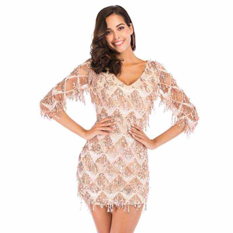 Сексуальное женское клетчатое платье с кисточками и блестками элегантное женское вечернее платье прямое тонкое v-образный вырез три четверти рукав короткие платья