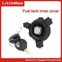LittleMoon Fuel tank inner cover Car Oil Tank Cap For Peugeot 206 207 Citroen C2 Cover Lock With Two Keys 1508H2