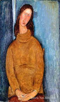 Nude painting by Amedeo Modigliani Jeanne Hebuterne in a Yellow Jumper Redroom decor Handmade High quality image