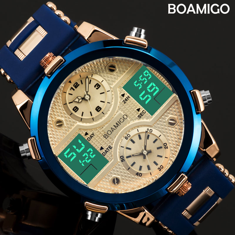 BOAMIGO Mens Watches Top Luxury Brand Men Sports Watches Men s Quartz LED Digital 3 Clock
