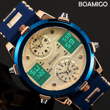 BOAMIGO Mens Watches Top Luxury Brand Men Sports Watches Men's Quartz LED Digital 3 Clock Male Gold Blue Military Wrist Watch(China)