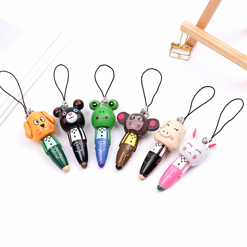 6pcs lot Mini Animal Pen Kawaii Wood Ballpoint Pen Dog Pig Rubbit Ball Pens for Kids Writing Novelty Gift School Stationery 2019 in Ballpoint Pens from Office School Supplies