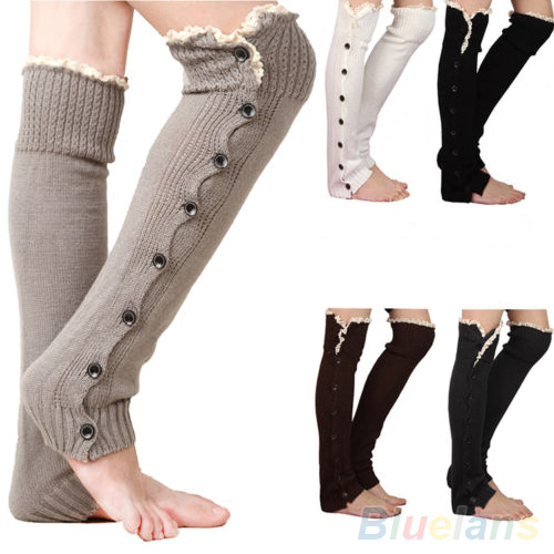 Women's Crochet Knitted Stocking Leg Warmers Button Lace Trim Legging Boot  1SXE