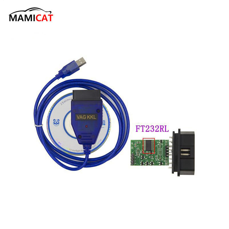 A + + + FT232RL Chip VAG Cable USB interfaz USB OBD OBD2 interfaz de diagnóstico OBDII Scan