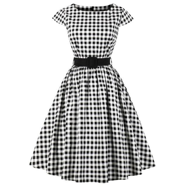 2ebb7d2b870 Wipalo Women Vintage Dress 50s Rockabilly Black Plaid Elegant A Line Dresses  Summer Short Sleeve Belted