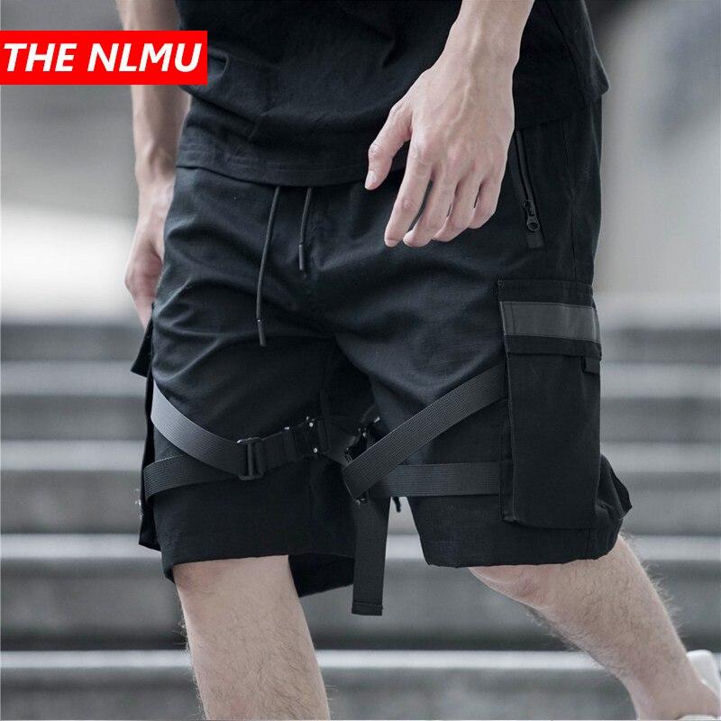 2019 Summer Black Cargo   Shorts   Men Streetwear Hip Hop Casual   Short   Trousers Ribbon Design Male Homme   Shorts   Multi-pocket WG313