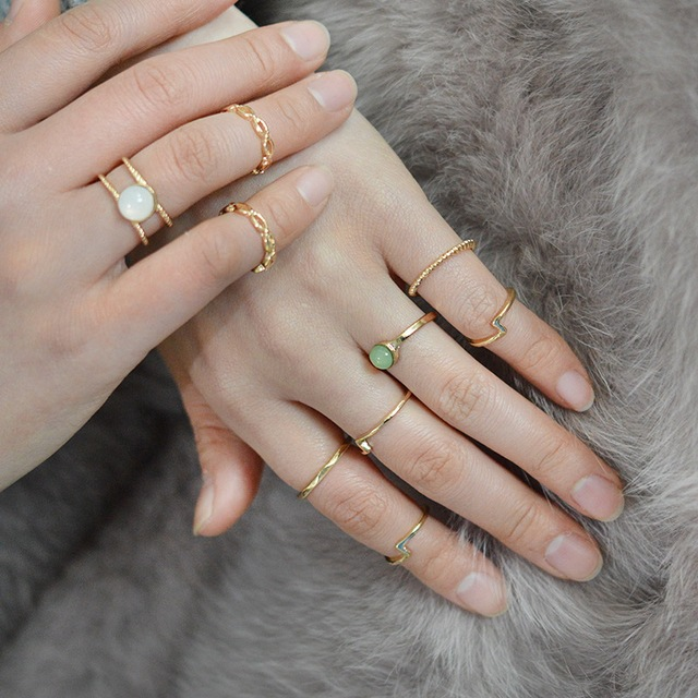 9Pcsset Tiny Smooth Imitation Moonstone Gold Color Midi Ring
