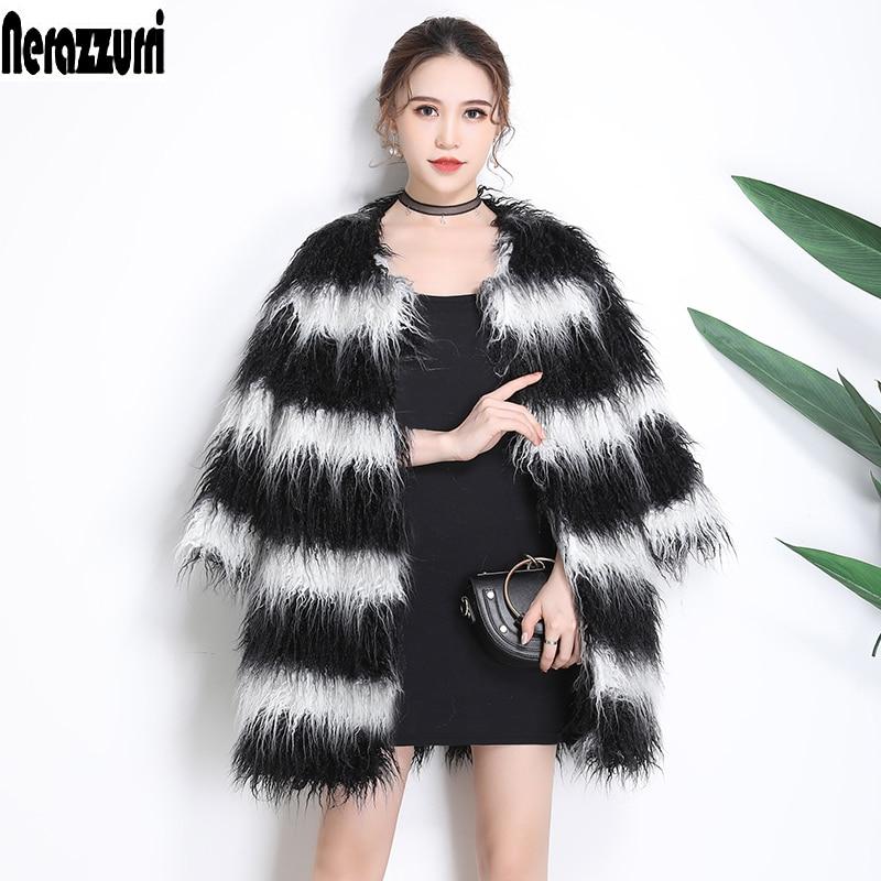 Rayé Et Fourrure Blanc De Drop Noir Taille Furry Poilu Épaule Faux Veste 6xl Poils Black 5xl Manteau Outwear À Nerazzurri And White Grande Longs 5qEt0xY5