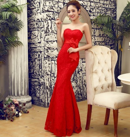 Bride and bridesmaids dress formal dress red tube top long design lace fish  tail dress slim