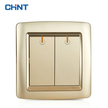 CHINT Electric Light Switch Wall Plates NEW2K Champagne Gold Two Gang One Way 16A