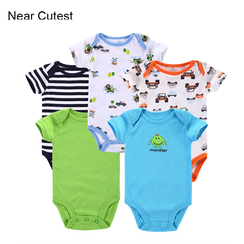 5pcs/lot Baby Clothing Short-Sleeve 100% Cotton Baby Romper Infant Rompers Boys Girls Baby Clothing Newborn Bebe Overall Clothes