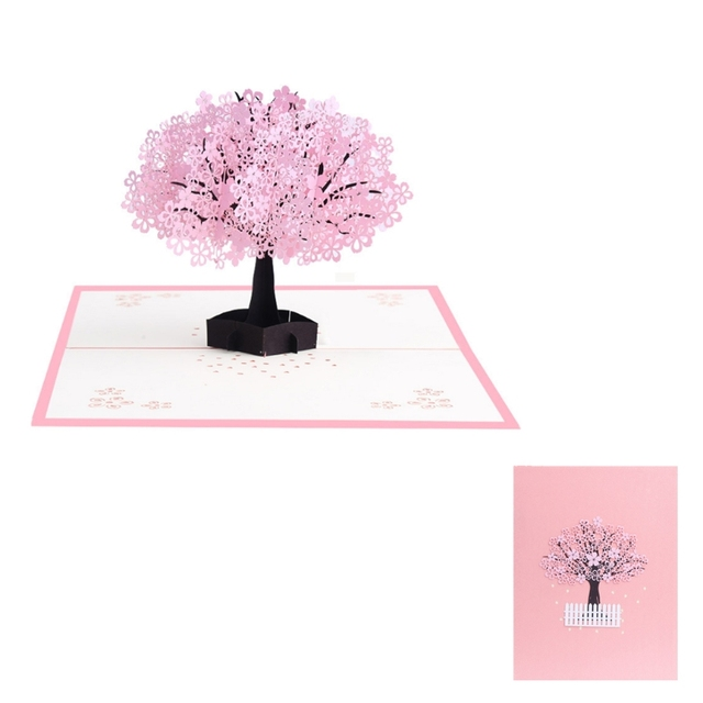 fashion design 3d pop up cherry blossoms greeting card christmas