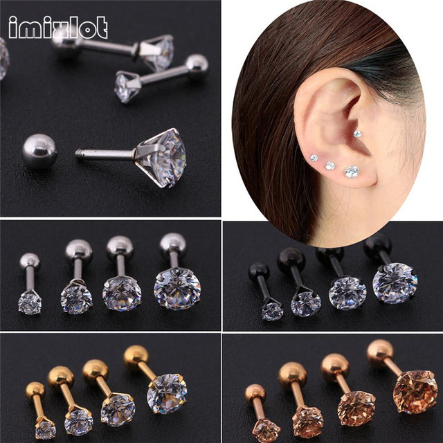 988d4d8c2 imixlot Women New Silver Gold Star Crystal Cartilage Stud Earring Tragus  Helix ear Piercing Top Upper Labret Body Jewelry