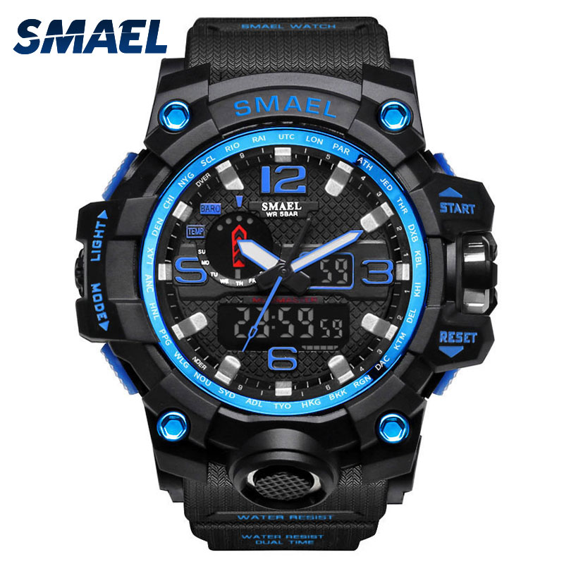 Man Watch 2017 SMAEL Brand Sport Watches Date Alarm Stopwatch Men Clock Sport Watch Digital S shock 1545 Blue LED Watch Watproof