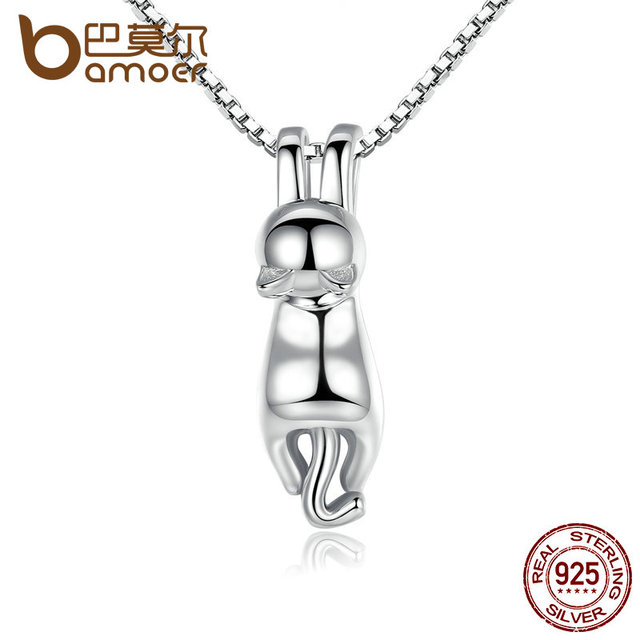 BAMOER High Quality Smooth 925 Sterling Silver Lovely Cat Long Tail Necklaces &