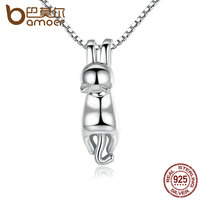 BAMOER High Quality Smooth 925 Sterling Silver Lovely Cat Long Tail Necklaces Pendants S925 Fine Jewelry