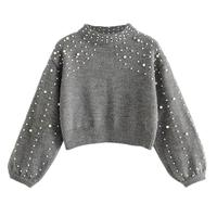2018 New Arrival Beading Sweater for Women Autumn Pullovers Knit Garments Female Wool Short pearl decoration Sweaters