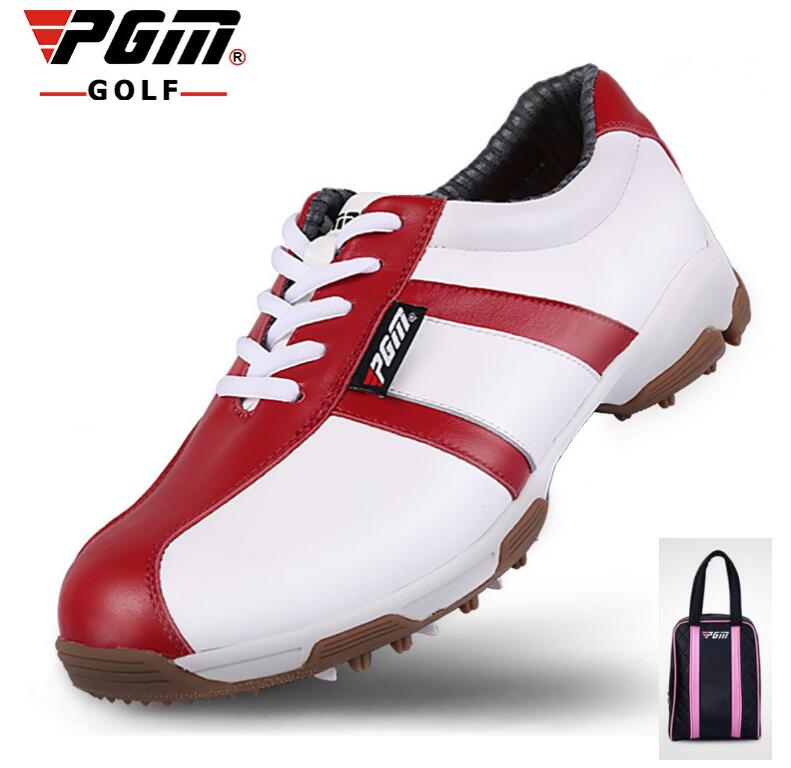 PGM Genuine Leather golf shoes women's Non-slip patent Golf Sneakers Ultralight waterproof breathable Golf shoes With shoes bags simulation mini golf course display toy set with golf club ball flag