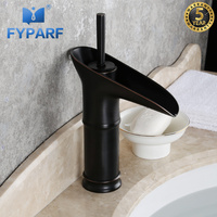 FYPARF Waterfall Bathroom Faucet Retro Basin Taps Oil Rubbed Bronze Single Handle Sink Faucets Taps Solid Brass Sink Water Crane